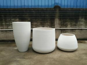 China New arrival light weight large fiberstone planter pots for home and garden decorations on sale