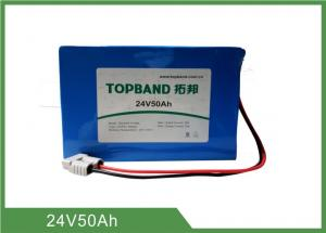 China 24V 50Ah Rechargeable Lithium Iron Phosphate Battery WIth Anderson Connector And PVC Pack supplier