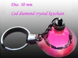 China diamond shaped logo Led FGB Flashing Light Crystal crystal keychain for promotion on sale