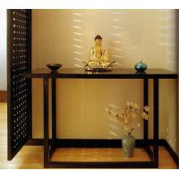 China 5 Star Hotel Lobby Solid Wood Console Table Walnut  Veneer Reception Table on sale