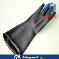 Beaded Cuff, Black, Polymerlined Latex Industrial Gloves