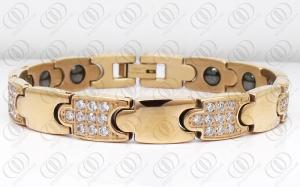China Pulseras magnéticas llenas del hematites del acero inoxidable del oro de Rose para los hombres on sale