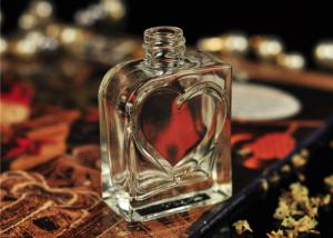 China 30ml Small Glass Perfume Bottles Vintage Silk Printing Heart Shape supplier
