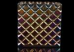 Iridescent Plating Square Decorative Glass Candle Holder , Luxury Scented Glass Candle Jars