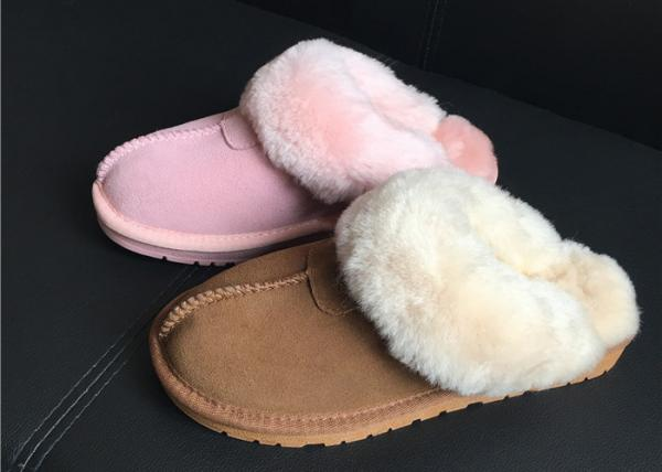0ebb2f3cc60 100% Sheepskin Slippers Ladies Shoes Chestnut EVA Soft Sole Suede Leather  Images