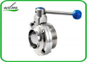 China 4 Gear Pull Handle Sanitary Butterfly Valve With Thread And Weld Connection on sale
