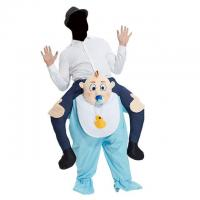 China White Blue Carry Me Men's Ride On Baby Costume Mascot Fancy Dress on sale
