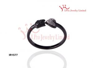 China 925 Sterling Silver Ring with Heart shape in Black & Rhodium Plated on sale