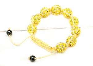 China 9*10mm Yellow Disco Balls with Red Rope Shamballa Bead Bracelet NP10052-226 on sale