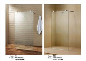China Easy Install Walk In Shower Screen , Frameless Glass Shower Screen With Support Bar on sale