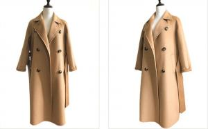 China Ladies Wool Blend Winter Coat With Tailored Collar / Long Sleeve / 2 Pockets on sale