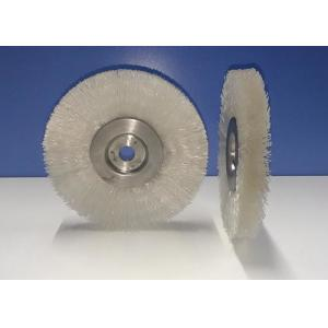 China Crimped Round Plastic Wire Wheel Brush 100MM OD Fill Density White Color on sale