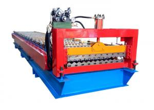 China Color Steel Roofing Sheet Corrugated Shape Roll Forming Machine With PLC Control System on sale