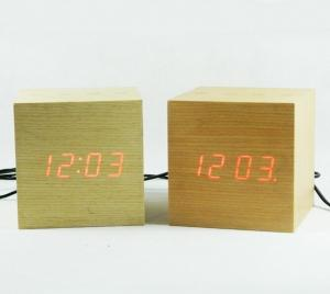China LED digital wooden touch control desk clock on sale