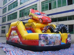 China Promotion Commercial Small Cartoon Car Inflatable Slide For Outdoor Entertainment on sale