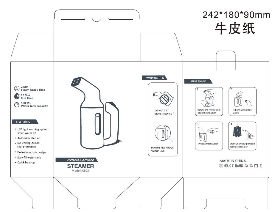 2018 CS03 150ml Portable Mini Handy Travel Garment Clothes Steamer with LED Warning Light