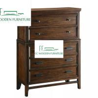 American country style wood bedroom lockers five drawer dresser