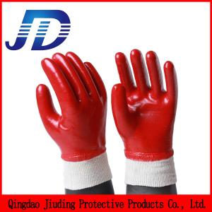 China Industrial safety equipment red oil resistant industrial protective gloves on sale