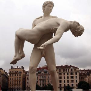 China Homosexual Theme Life Size True Love Of Gay Men Natural Marble Statue on sale