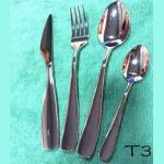 Los cubiertos/el servicio de mesa/los platos y cubiertos del acero inoxidable de la serie T03 fijan/sistema del cuchillo y de la bifurcación