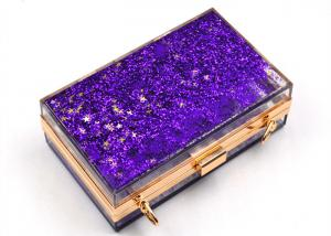 China Elegant Purple Transparent Box Clutch Bag , Women Clear Acrylic Handbags on sale