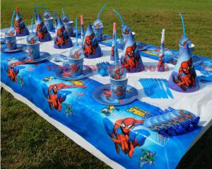 China SPIDERMA THEME PAPER GLASSES CUPS SPIDERMAN DISHES KIDS BIRTHDAY PARTY DECORATION SPIDER MAN TABLE CLOTH on sale