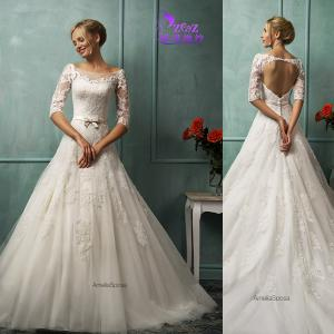 China Gogeous Amelia Sposa CJ-0558 A-line 3/4 Sleeves Backless French Lace Bridal Gown on sale