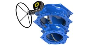 China Double Eccentric Butterfly Valve Low Operating Torque Available Dovetail Blue Rubber Seal on sale