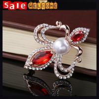 Red Golden Crystal Pearl Men Brooches ,Heart CZ Diamond Brooch,Flower Leaf Brooch Pin