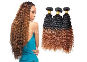 China Highlighted Deep Curly Remy Ombre Hair Extensions For Black Women on sale