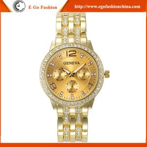 China GV01 Rose Gold Luxury Geneva Watch Alloy Watches for Woman Lady Dress Watch Quartz Watches on sale