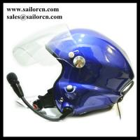 Noise cancel Paramotor helmet Blue with headset blue Open face PPG helmet two side PTT control