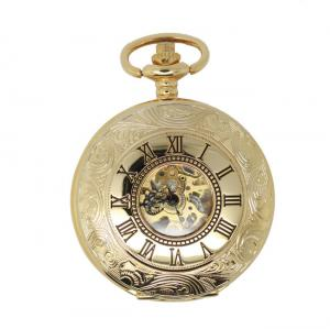 China Luxury Hollow Pocket Watches For Men Gold , Round Retro  Pocket Watch with metal Chain on sale