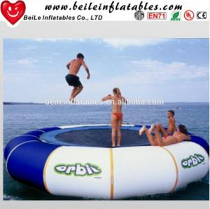 China Gaint blue and white PVC tarpaulin Water Buoy Inflatable Mattress to adult Jump on Water on sale