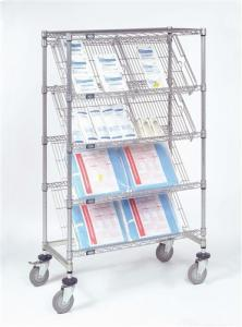 China 5 Layer Commercial Metal Storage Racks Company Display Chrome Slanted Shelving on sale