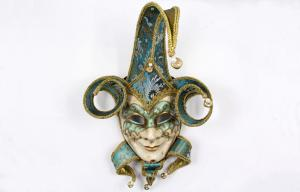 China Female Red Venetian Jester Mask Handmade With Jester Face Mask on sale