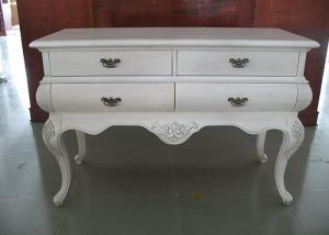 China White Wooden Console Table With Storage / Accent Chest And Cabinets on sale