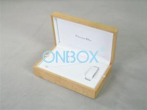China Glossy wooden burl veneer printed gift packaging boxes for cufflinks or watch on sale