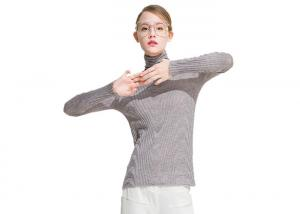 China High Neck Womens Knit Sweater Long Sleeve Soft Thin Jumper Nylon / Acrylic Material on sale