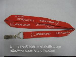 China Jacquard airline service logo id badge holder lanyard, id card holder woven neck straps, on sale