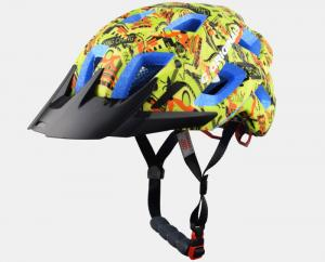 China Yellow Graffiti Professional MTB Enduro Helmets , Blue EPS Color Available and CE Certified on sale