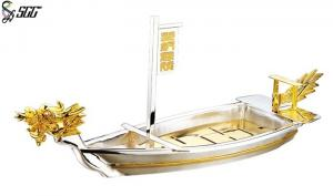 China Sushi Dragon Boat Gold Plated Tableware Dish Plate , Silver Plated Trays on sale
