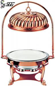 China Luxury Rose Gold Plated Indian Style Metal Chafing Dishes With Cover Hanger on sale