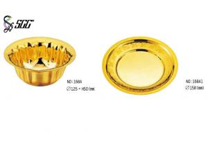 China Noble Finger Bowl With Plate / Chinese Gold Plated Tableware For Restaurant / Hotel on sale