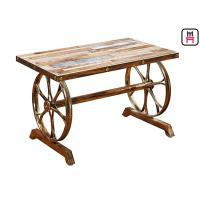 China 4ft*2ft Plywood / Cast Iron Table Base Industrial Style Coffee Table With Wheel Design on sale