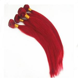 China Top Quality 16inch 100% Human Hair Red  Silky Stright Hair Weave on sale