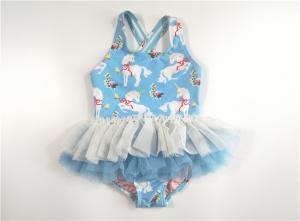 China Sky Blue Horse Printed Youth Girls Swimsuits Recycled Material Princess Mesh Skirt Cross Back Strap on sale