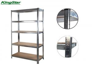 China Galvanized 5 Tier Boltless Shelving Cramped Edge Upright With MDF Board , 175Kg Capa on sale