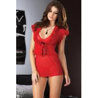 Sexy Lingerie Wholesale Ruffled Red Lingerie Sexy Babydoll Lingerie Chemises wholesale from manufacturer