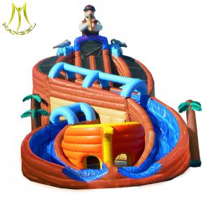 China Hansel   inflatable jumping bouncer castle with floating water slide children slide for sale on sale